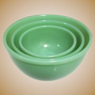 Fire King Jadeite Mixing Bowls, Set of 3