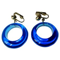 Blue Hoop Earrings, Lucite, 60's Mod