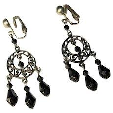 Vintage Hoop Earrings, Japanned Filigree, Black Beads