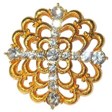 Vintage Rhinestone Pin, 1960's Monet Brooch, Cross