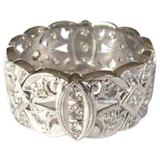 Platinum Diamond Ring, Deco Band, Vintage Filigree, 1ct.