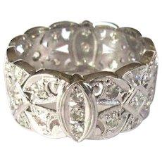 Platinum Diamond Ring, Deco Band, Vintage Filigree, 1ct.