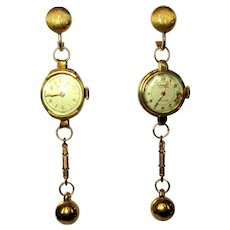Vintage Watch Earrings, Upcycled Steam Punk Drops