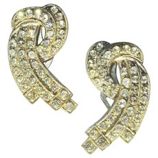 Rhinestone Dress Clips, Art Deco Vintage 30s 40s Pair