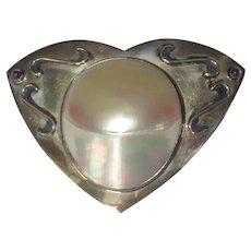 Sterling Pin, Vintage Artist Made, Shell Brooch