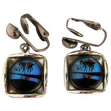 Butterfly Wing Earrings, Vintage 50's Clip Ons