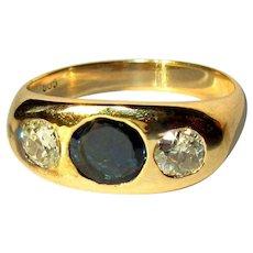 14K Diamond & Sapphire Ring, Victorian Gypsy, 1.3 Cts.