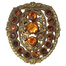 Czech Glass Clip, Vintage Art Deco, Filigree & Marcasite