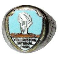 Vintage Yellowstone Ring, Old Faithful Enamel