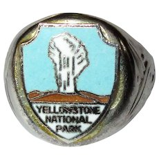 Vintage Yellowstone Ring, Old Faithful Enamel