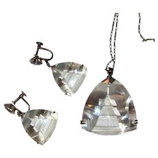 Rock Crystal Pagoda Necklace & Earrings, Sterling, Japan, 1950's