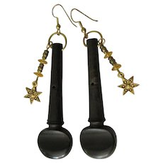 Violin Peg Earrings, Vintage, Stars