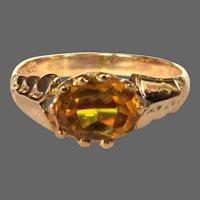 Art Nouveau Rose Gold Ring, Topaz, 10K