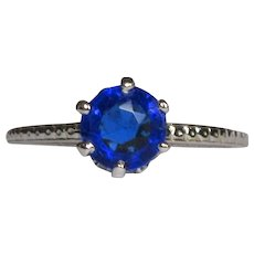Art Deco 14K White Gold Ring, Synthetic Sapphire