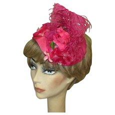 Pink Feather Hat, Vintage Mid Century Cap, Floral & Ostrich