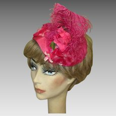 Pink Feather Hat, Vintage Mid Century Cap, Floral & Ostrich