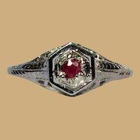 18K Ruby Ring, Vintage Belais Art Deco White Gold Filigree
