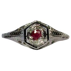 18K Ruby Ring, Vintage Belais Art Deco White Gold Filigree