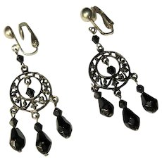 Vintage Hoop Earrings, Japanned Filigree, Black Beads