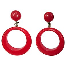 Bakelite Hoop Earrings, Articulated, Large, Cherry Red