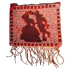 Candy Dot Purse Vintage 50's Beaded, Square Dancers