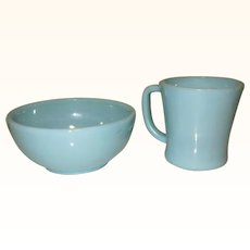 Fire King Turquoise Blue Coffee Cup & Bowl, Anchor Hocking