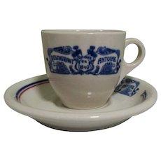Antoine's Demitasse Cup & Saucer, Vintage Restaurant China