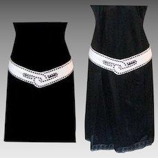 Vintage 1980's White Leather Belt, Studs