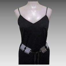Vintage 60's Bullet Belt, Hipster Chic, Black Leather