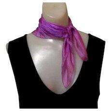 Vintage Silk Scarf, 1950's Purple Chiffon