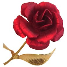 Red Rose Brooch, Cerrito, Gold Plated, Vintage Floral