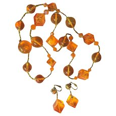 Lucite Cube Necklace & Earrings, 60's Orange