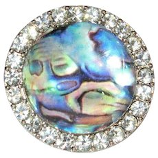 Vintage Rhinestone Ring, Lucite Bubble Dome