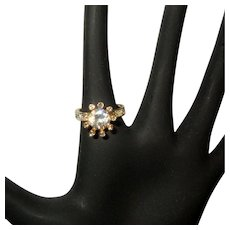 Rhinestone Ring, Vintage Flowerette