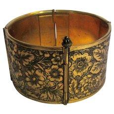 Victorian Bracelet, Floral Etched, Wide