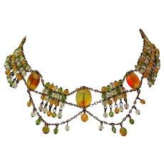Vintage Crystal Festoon Necklace, Art Glass Beads