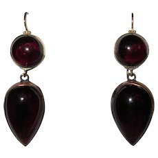Garnet Earrings, 14K Gold, 40's Retro, Rose Gold