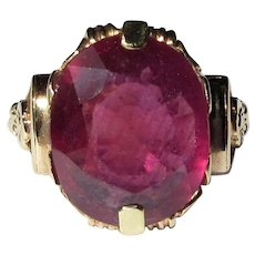 Ruby Ring, 14K Gold, Vintage Floral