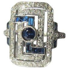 Sapphire & Diamond Ring, Art Deco, Platinum, 18K WG