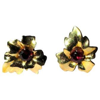 Flower Petal Earrings, 10K & Garnet, Vintage 40's