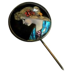 Limoges Portrait Stick Pin, Enamel on Sterling Silver