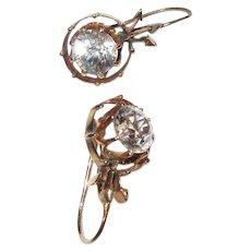 Vintage Sapphire Earrings, 14K, 3cts, 1920's