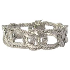 18K White Gold Heavy Chain Bracelet, 74.5 Grams, Vintage