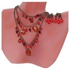 Boho Necklace & Earrings Vintage Set, Crystals, Japanned