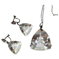 Rock Crystal Pagoda Necklace & Earrings, Sterling, Japan, 1950's