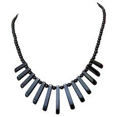 Vintage Hematite Necklace, 1980's Deco Revival