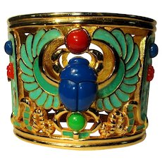 Hattie Carnegie Egyptian Revival Scarab Bracelet, Wide Clamper