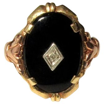 Rose Gold, Yellow Gold Onyx, Diamond Ring, Vintage 10K, Art Nouveau