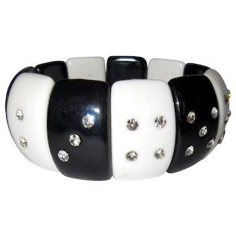 Lucite Rhinestone Bracelet, Stretchy, Dice / Gambling Theme