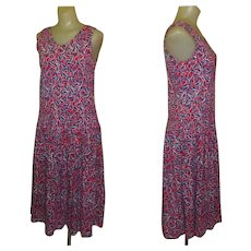 Vintage Laura Ashley Dress, Cotton Knit, Fish Print, Sleeveless